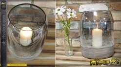 Lanterne en verre teinté et craquelé sur base circulaire en bois gris 30 cm