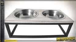 Gamelle pour chien ou chat en bois vieilli, métal noir et inox argenté 30 cm