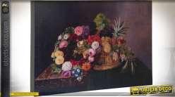 Reproduction peinture sur bois bouquet de fleurs 30 x 22 cm