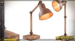 Lampe de bureau rétro articulée en bois et métal 45 cm