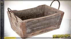 Caisse en bois de style rétro avec anses latérales en métal 41 cm