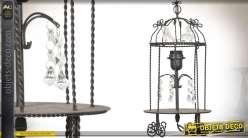 Lampe de table à pampilles en métal forme cage à oiseaux rétro 41 cm
