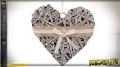 Suspension décorative en forme de grand coeur en osier vieilli et rubans 30 cm