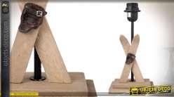 Pied de lampe en bois esprit montagne avec skis 29 cm