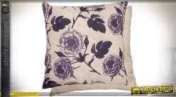 Housse de coussin rétro à motifs fleuris coloris écru et aubergine 45 x 45 cm