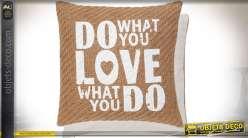 Housse de coussin en toile de jute écru avec marquage blanc 40x40 cm