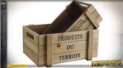 Série de 2 caisses en bois rustiques marquées Produits du terroir 32 cm
