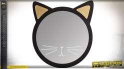 Miroir tête de chat avec encadrement en bois peint noir et or 41 cm
