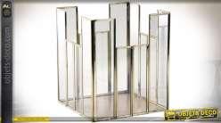 Bougeoir carré pour photophore en verre et laiton de style design 22 cm