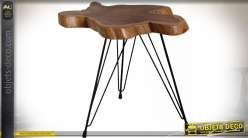 Sellette en teck et métal style bois naturel brut et pieds design 50 cm
