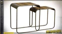 Duo de sellettes rectangulaires en bois et métal 56,5 cm