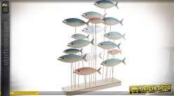 Déco banc de poissons en métal laqué sur socle en bois 68 cm
