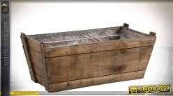 Série de deux corbeilles rectangulaires en bois vieilli 40 cm