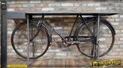 Console rétro industrielle avec grand cadre de bicyclette ancienne 188 cm