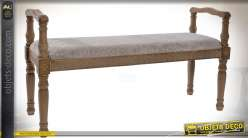 Banquette bout de lit de style rétro en bois sculpté assise en tissu gris clair 119 cm