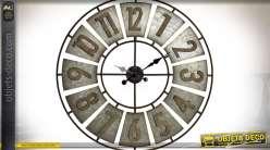 Grande horloge en bois et métal style rétro indus Ø 80 cm