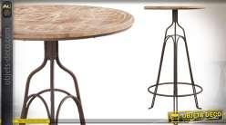 Table bistro haute ronde en bois et métal 107 cm Ø 60 cm