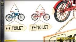 Serie de deux décorations murales indiquant les services en forme de vélo