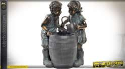 Fontaine décorative d'intérieur : les enfants (imitation bronze) 77 cm