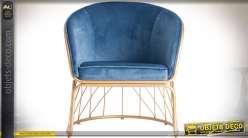 Fauteuil Art Déco en métal et tissu coloris bleu et or 80 cm