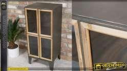 Meuble d'appoint en bois et métal de style industriel - 1 porte vitrée