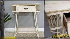 Table auxilaire en metal de couleur crème antique style rustique - indus