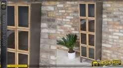 Meuble colonne en metal et bois, une grande porte 139cm de style industriel