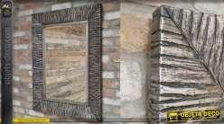 Grand miroir rectangulaire avec encadrement en metal zébré noir et argent