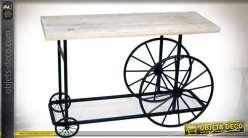 Table console originale en forme d'ancien chariot en bois clair et métal noir 120 cm