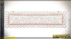 Panneau décoratif mural en bois sculpté 111 cm finition blanc vieilli