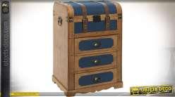 Chiffonnier en bois et toile façon coffre de maroquinerie ancien 71 cm