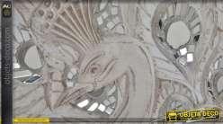 Décoration murale en bois et miroirs : paon précieux en relief 90 cm