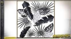 Cadre décoratif métal en relief thème feuilles exotiques 86 x 86 x 11 cm