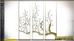 Décoration murale en métal triptyque arbre et feuillages dorés 120 cm
