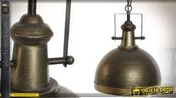 Suspension industrielle en métal couleur bronze vieilli Ø 35 cm
