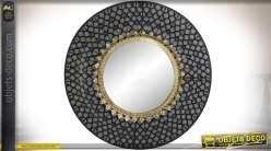 Miroir rond en métal de style oriental coloris noir et or Ø 80 cm