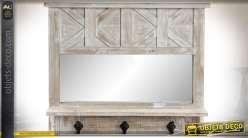 Etagère murale rustique en bois avec miroir et crochets porte-manteaux 66 cm