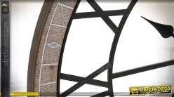 Horloge murale en bois et métal façon ancienne roue de chariot Ø 80 cm