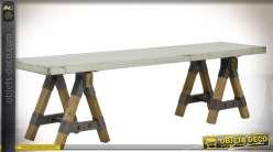 Banc indus tréteaux blanc vieilli, bois naturel métal finition zinc 170 cm