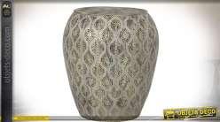 Bout de canapé oriental métal doré vieilli et ajouré plateau circulaire oxydé