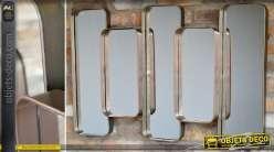 Miroir industriel design en métal argenté à 5 panneaux en relief 100 cm