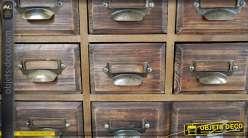 Reproduction ancien meuble de métier à tiroirs en sapin ciré vieilli 145 cm