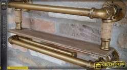 Etagère murale porte-bouteilles doré façon tuyauteries industrielles 53 cm