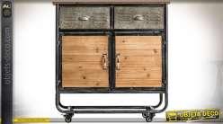Console industrielle en forme d'ancienne servante d'atelier en bois et métal 89 cm