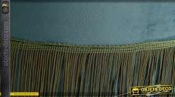 Pouf / repose-pieds cylindrique en velours vert canard avec fine frange 43 cm