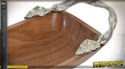 Plat long en acacia massif et fonte d'aluminium argentée 45 cm