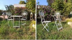 Salon de jardin 2 personnes en fer forgé finition blanche et noire, 73cm