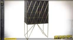 Buffet design en manguier et laiton coloris noir et or 155 cm