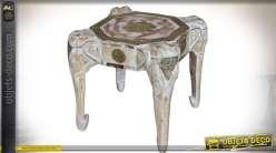 Table d'appoint bout de canapé en manguier et laiton têtes d'éléphants 44 cm
