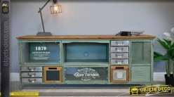 Meuble TV de style rétro et industriel en bois et métal 155 cm